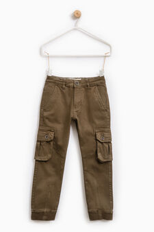 Pantaloni chino cargo cotone stretch, Grigio, hi-res
