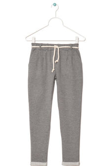 Stretch French terry trousers, Grey Marl, hi-res