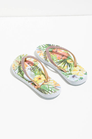 Glitter flip flops with print