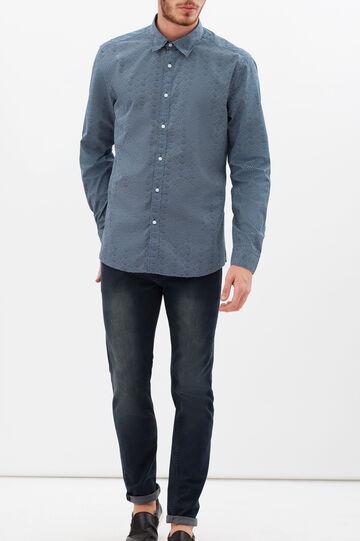 Slim-fit shirt with wave print., Black/Blue, hi-res