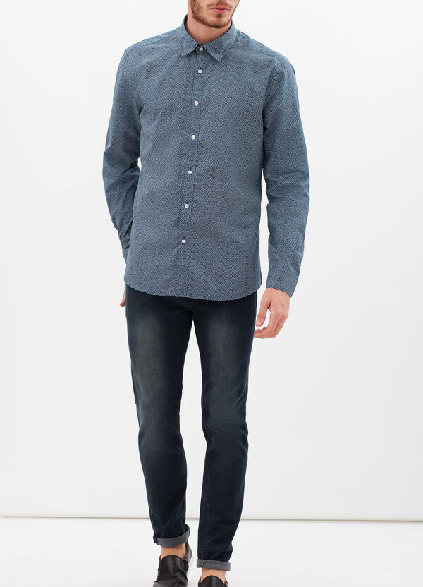 Slim-fit shirt with wave print. | OVS