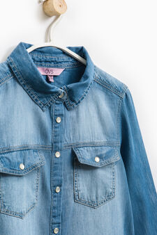 Denim shirt with pockets, Medium Wash, hi-res