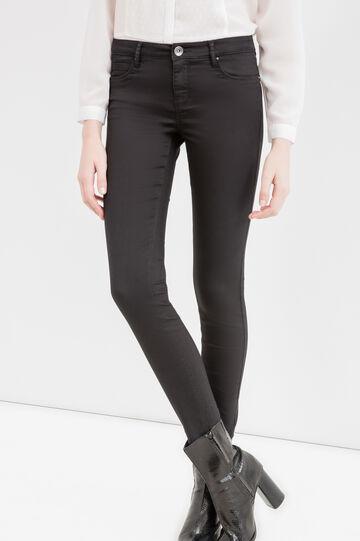 Pantaloni push up stretch a vita bassa, Nero, hi-res
