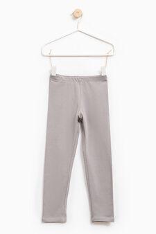 Solid colour stretch leggings, Dove Grey, hi-res