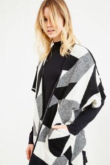 Mantella cotone e lana frange a nappina, Nero/Bianco, hi-res