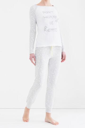 Pigiama puro cotone stampa lettering, Bianco/Grigio, hi-res