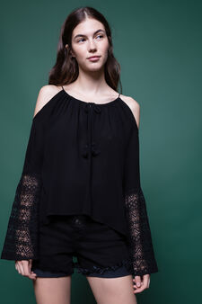 100% viscose blouse with lace and tassels, Black, hi-res