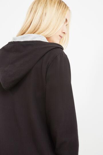 Curvy stretch cotton hoodie, Black, hi-res