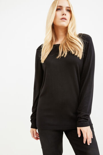 Curvy solid colour viscose pullover, Black, hi-res