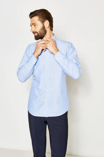 Camisa formal slim fit de lunares, Azul claro, hi-res
