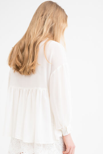 Pleated blouse with long sleeves., White, hi-res