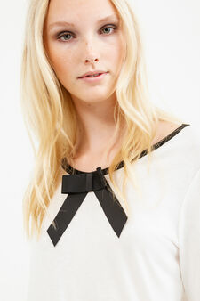 100% viscose T-shirt with bow, White, hi-res