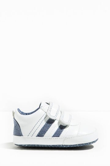 Sneakers with Velcro fastening, White/Blue, hi-res