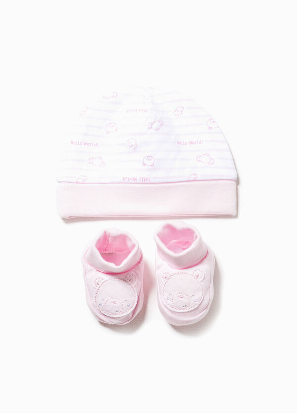 Striped hat and shoes set with patch | OVS