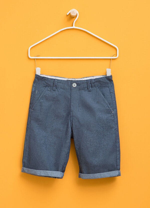 Stretch cotton Bermuda shorts with turn-up | OVS