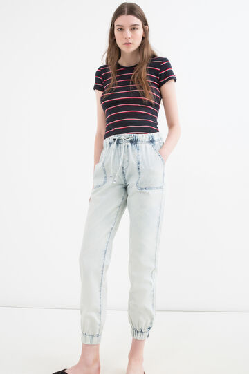 Regular fit jeans with drawstring, Blue, hi-res