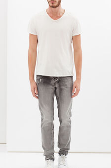 Faded-effect jeans, Light Grey, hi-res