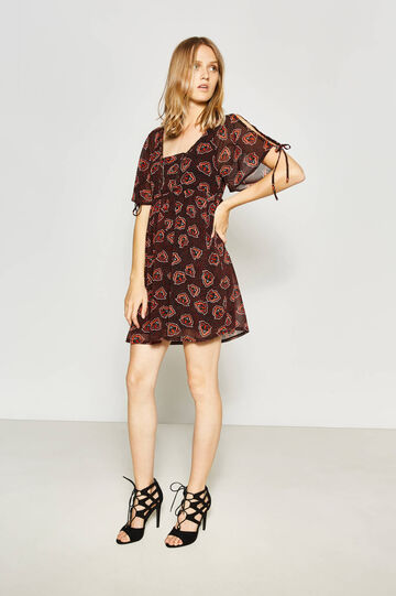 V neck dress with all-over print