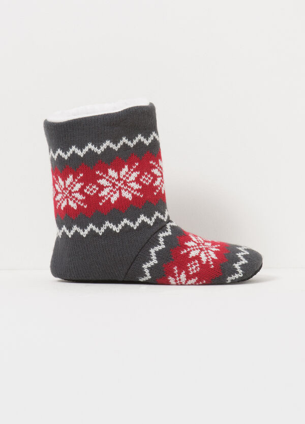 Patterned canvas slipper boots | OVS