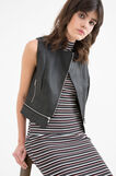 Solid colour leather look waistcoat., Black, hi-res