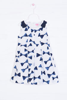 Printed dress in 100% cotton, White/Blue, hi-res