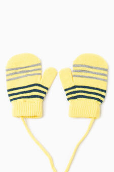 Muffole tricot a righe, Giallo, hi-res