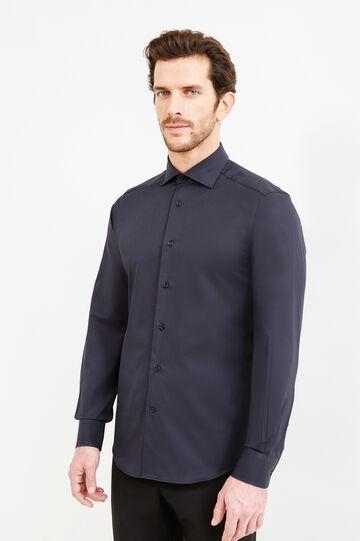 Camicia formale slim fit collo francese, Nero, hi-res