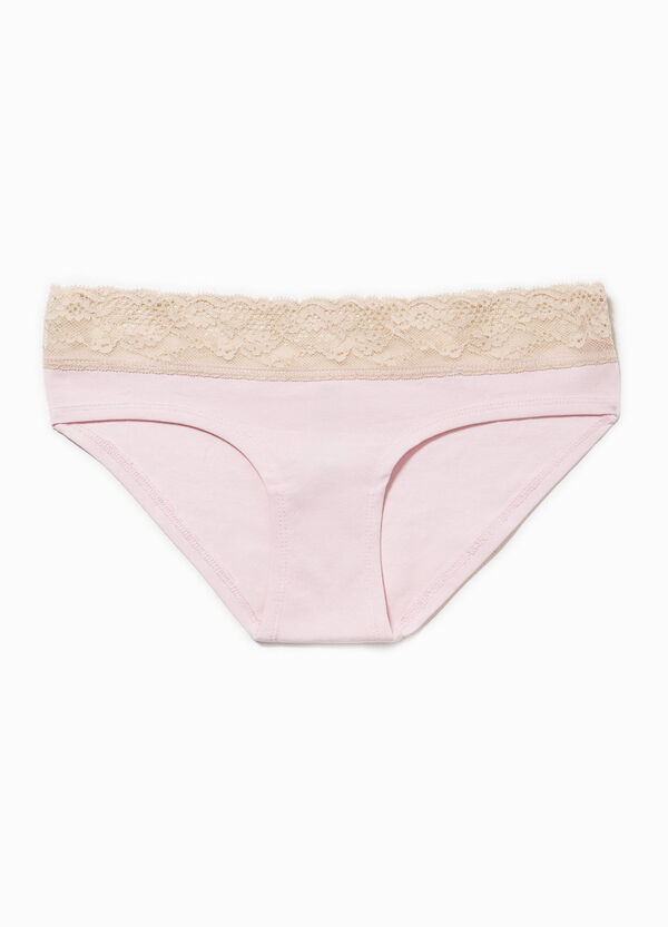 Stretch cotton French knickers with lace | OVS