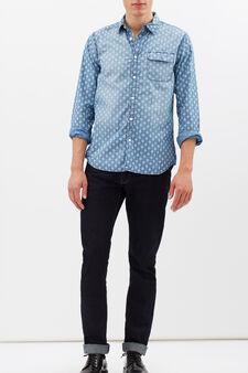 G&H patterned shirt in 100% cotton, Light Blue, hi-res