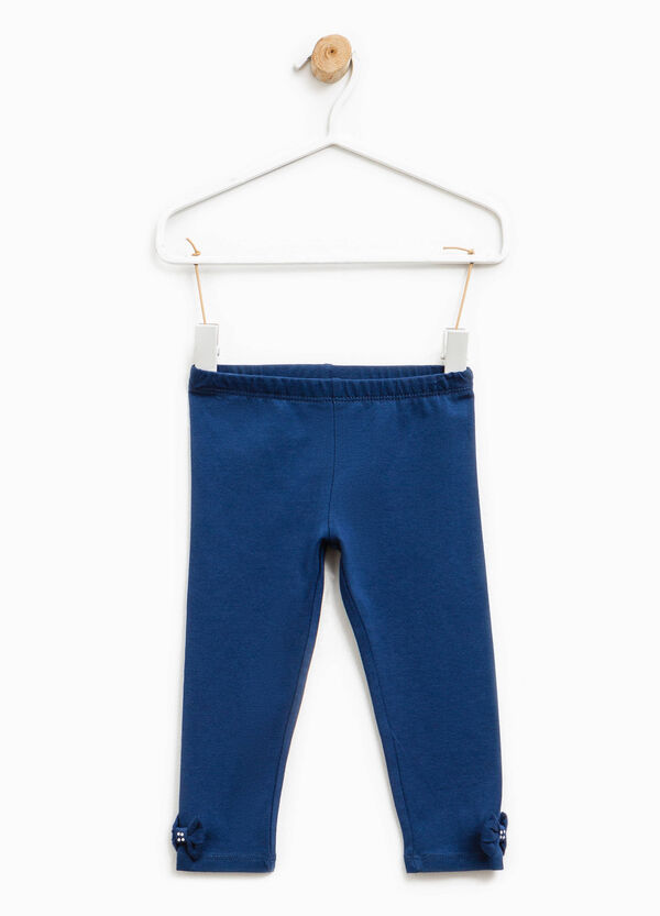 Cotton joggers with diamantés and bows | OVS