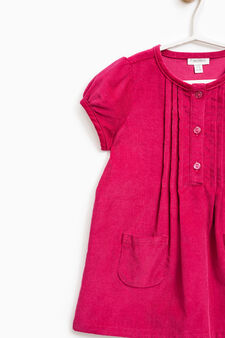 Puff-sleeved cotton dress, Fuchsia, hi-res