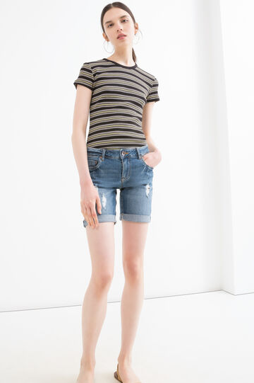 Stretch denim Bermuda shorts with rips, Blue, hi-res