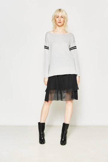 Flounced skirt with openwork weave, Black, hi-res