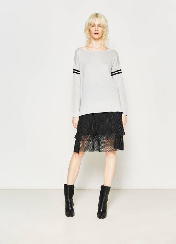 Flounced skirt with openwork weave | OVS