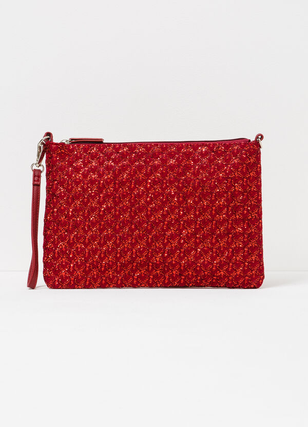 Glitter clutch bag with raised pattern | OVS