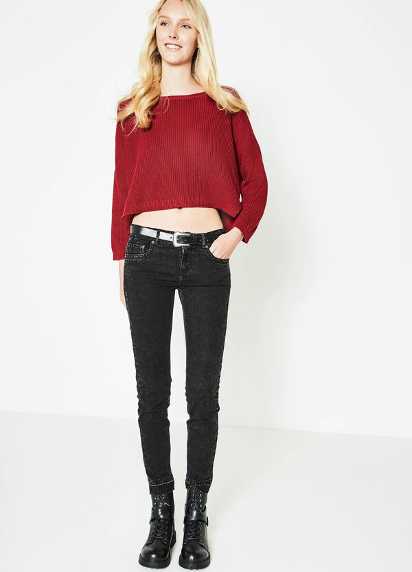 Crop pullover with batwing sleeves | OVS