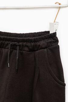 Pantaloni tuta in puro cotone, Nero, hi-res