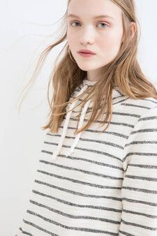 Striped cotton blend hoodie, Black, hi-res