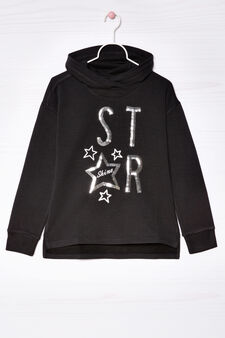 Stretch cotton hoodie with sequins, Black, hi-res