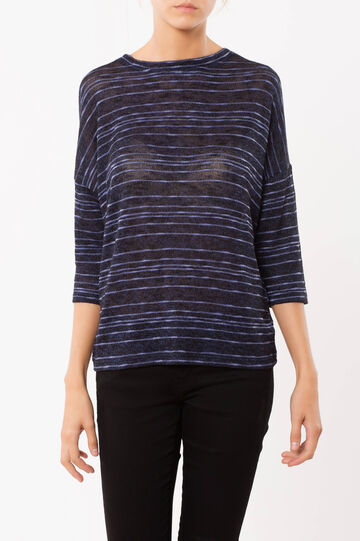 T-shirt a righe, Nero/Blu, hi-res