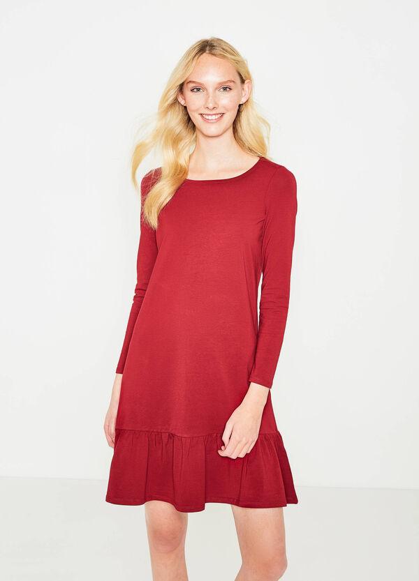 Vestido en algodón elástico con volantes | OVS