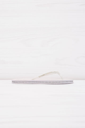 Solid colour thong sandal with diamanté detail, White, hi-res