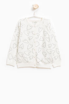 Cardigan with raglan sleeves and heart pattern, Cream White, hi-res