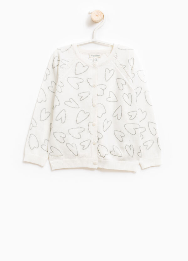 Cardigan with raglan sleeves and heart pattern | OVS