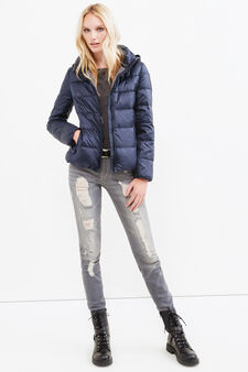 Down jacket with double pocket, Navy Blue, hi-res