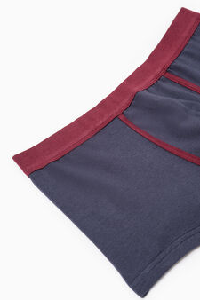 Two-pack boxer shorts striped and solid colour, Claret Red, hi-res