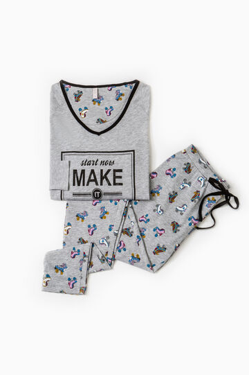 100% cotton pyjamas with skates print, Grey, hi-res