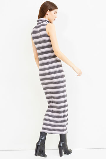 Long striped dress in stretch viscose, Grey/Pink, hi-res