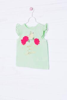 T-shirt cotone stretch volants, Verde, hi-res