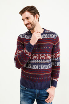 Pullover tricot ricamato all-over, Blu navy, hi-res